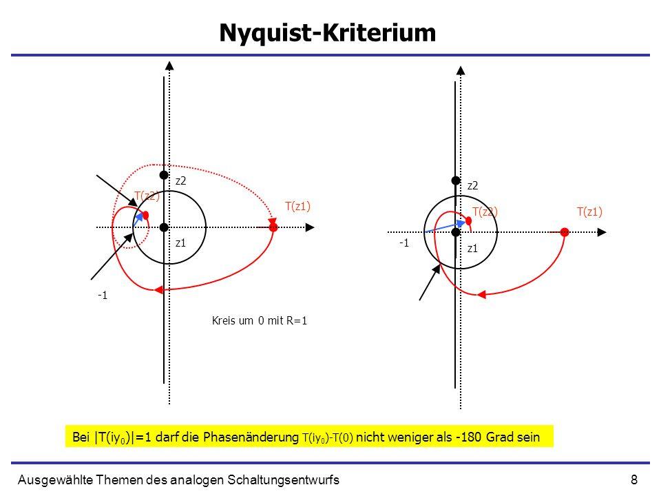 8Ausgewählte Themen des analogen Schaltungsentwurfs Nyquist-Kriterium z1 T(z1) z2 T(z2) z1 T(z1) z2 T(z2) Kreis um 0 mit R=1 Bei |T(iy 0 )|=1 darf die Phasenänderung T(iy 0 )-T(0) nicht weniger als -180 Grad sein