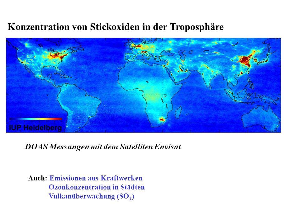 Konzentration von Stickoxiden in der Troposphäre DOAS Messungen mit dem Satelliten Envisat Auch: Emissionen aus Kraftwerken Ozonkonzentration in Städt
