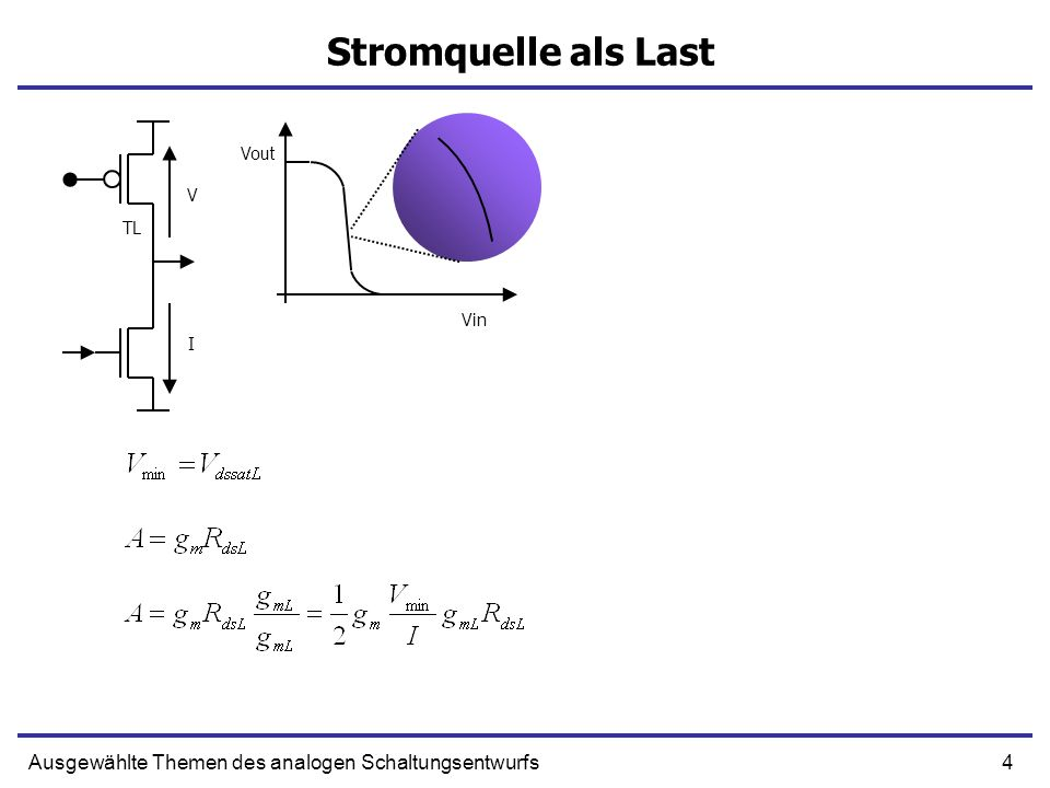 4Ausgewählte Themen des analogen Schaltungsentwurfs Stromquelle als Last V I Vin Vout TL