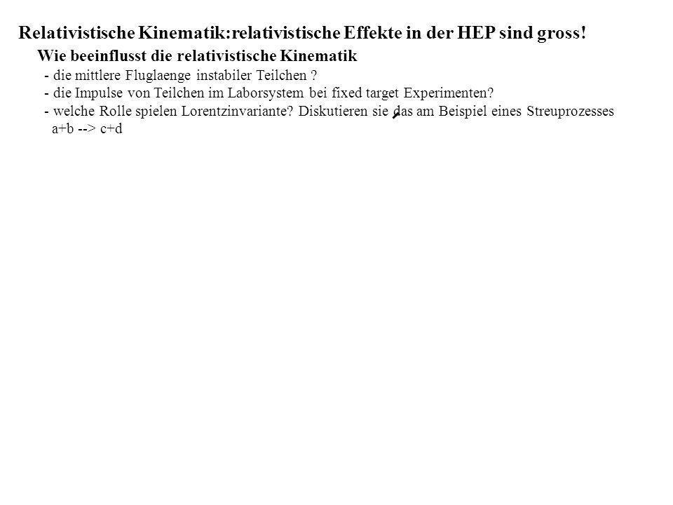 Relativistische Kinematik:relativistische Effekte in der HEP sind gross! Wie beeinflusst die relativistische Kinematik - die mittlere Fluglaenge insta