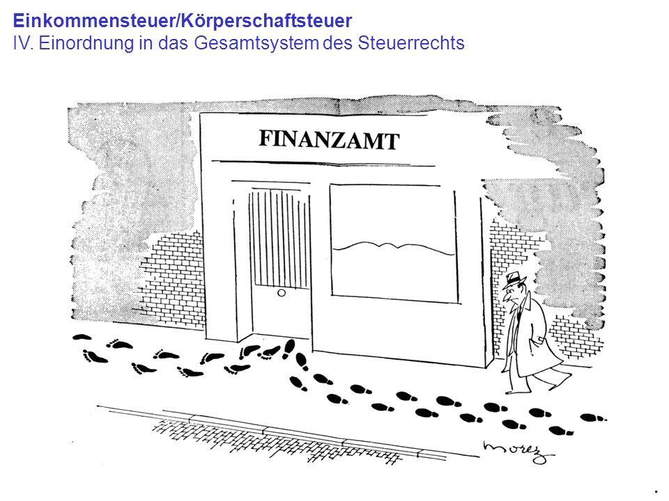 Einkommensteuer/Körperschaftsteuer IV. Einordnung in das Gesamtsystem des Steuerrechts.