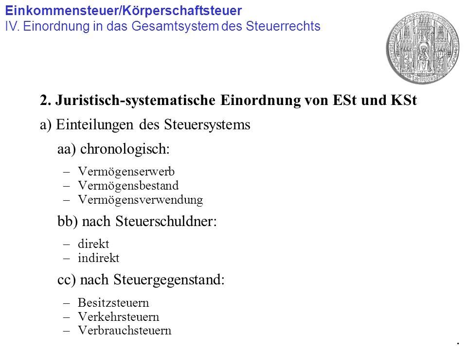 2. Juristisch-systematische Einordnung von ESt und KSt a) Einteilungen des Steuersystems aa) chronologisch: –Vermögenserwerb –Vermögensbestand –Vermög