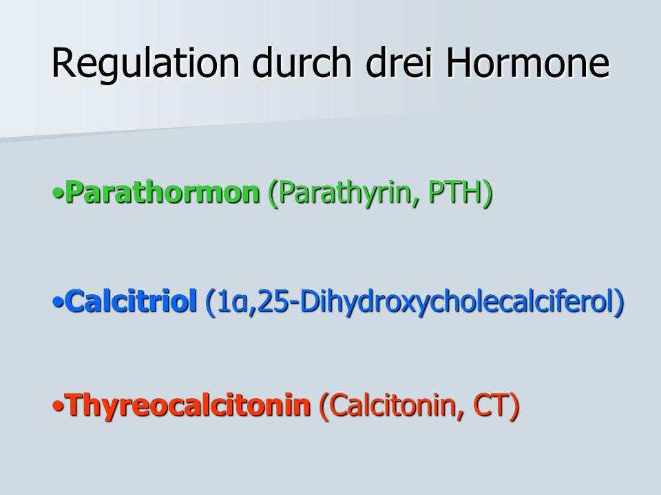 Regulation durch drei Hormone Calcitriol (1α,25-Dihydroxycholecalciferol)Calcitriol (1α,25-Dihydroxycholecalciferol) Thyreocalcitonin (Calcitonin, CT)