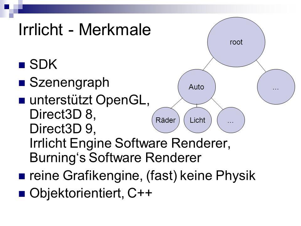 Irrlicht - Merkmale SDK Szenengraph unterstützt OpenGL, Direct3D 8, Direct3D 9, Irrlicht Engine Software Renderer, Burnings Software Renderer reine Grafikengine, (fast) keine Physik Objektorientiert, C++ root Auto RäderLicht...