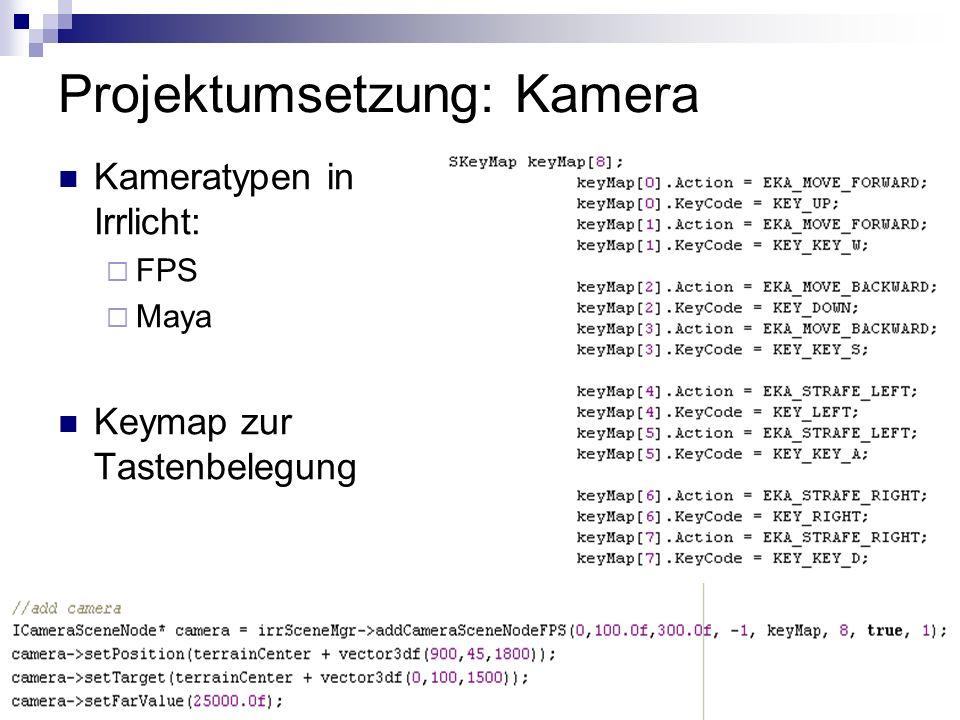 Projektumsetzung: Kamera Kameratypen in Irrlicht: FPS Maya Keymap zur Tastenbelegung