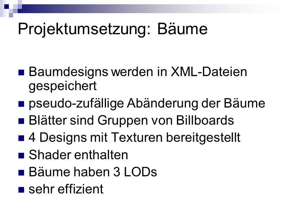 Projektumsetzung: Bäume Baumdesigns werden in XML-Dateien gespeichert pseudo-zufällige Abänderung der Bäume Blätter sind Gruppen von Billboards 4 Designs mit Texturen bereitgestellt Shader enthalten Bäume haben 3 LODs sehr effizient
