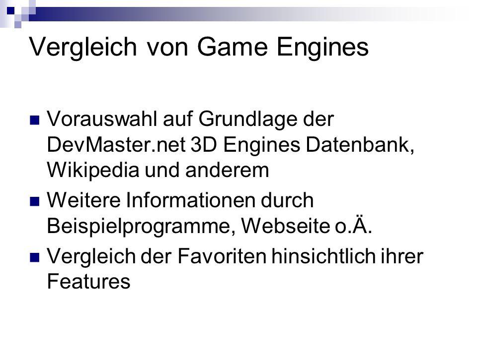 Vergleich von Game Engines Vorauswahl auf Grundlage der DevMaster.net 3D Engines Datenbank, Wikipedia und anderem Weitere Informationen durch Beispielprogramme, Webseite o.Ä.