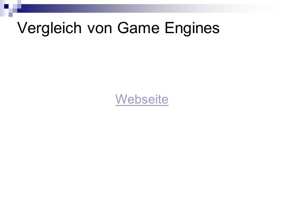 Vergleich von Game Engines Webseite