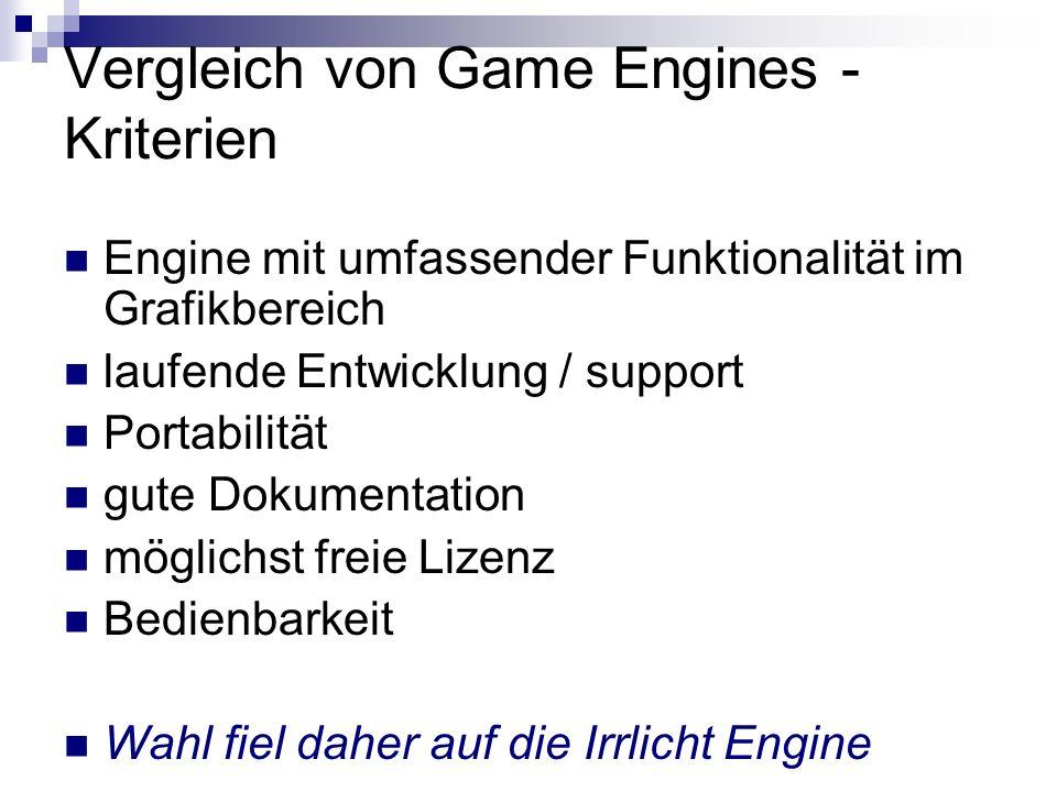 Vergleich von Game Engines - Kriterien Engine mit umfassender Funktionalität im Grafikbereich laufende Entwicklung / support Portabilität gute Dokumentation möglichst freie Lizenz Bedienbarkeit Wahl fiel daher auf die Irrlicht Engine