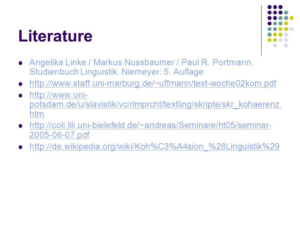 Literature Angelika Linke / Markus Nussbaumer / Paul R. Portmann. Studienbuch Linguistik. Niemeyer: 5. Auflage http://www.staff.uni-marburg.de/~uffman