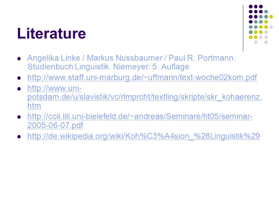 Literature Angelika Linke / Markus Nussbaumer / Paul R.