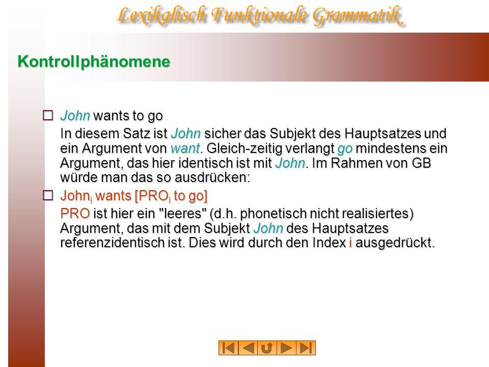 Kontrollphänomene John wants to go In LFG würde man sagen, daß John gleichzeitig Argument von wants und go ist.