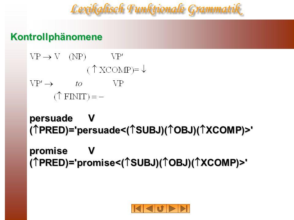 Kontrollphänomene persuadeV ( PRED)= persuade ( XCOMP SUBJ) = ( OBJ) promiseV ( PRED)= promise ( XCOMP SUBJ) = ( SUBJ)