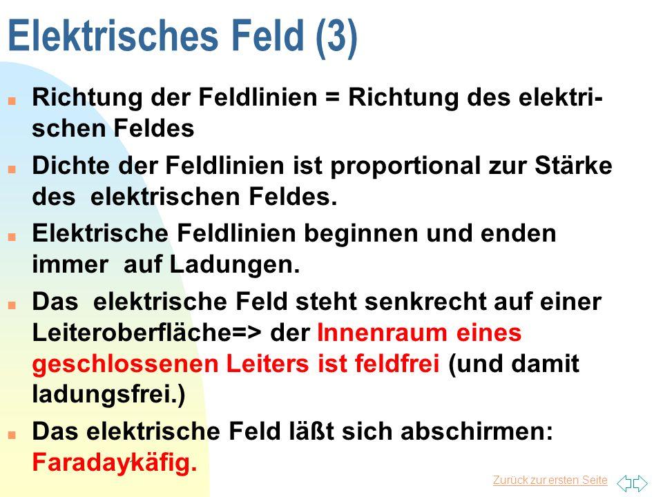 Zurück zur ersten Seite 11 Elektrisches Feld (3) Richtung der Feldlinien = Richtung des elektri- schen Feldes Dichte der Feldlinien ist proportional z