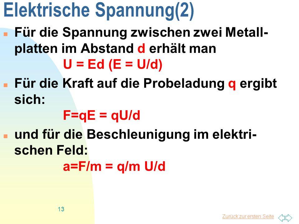 Zurück zur ersten Seite 13 Elektrische Spannung(2) Für die Spannung zwischen zwei Metall- platten im Abstand d erhält man U = Ed (E = U/d) Für die Kra