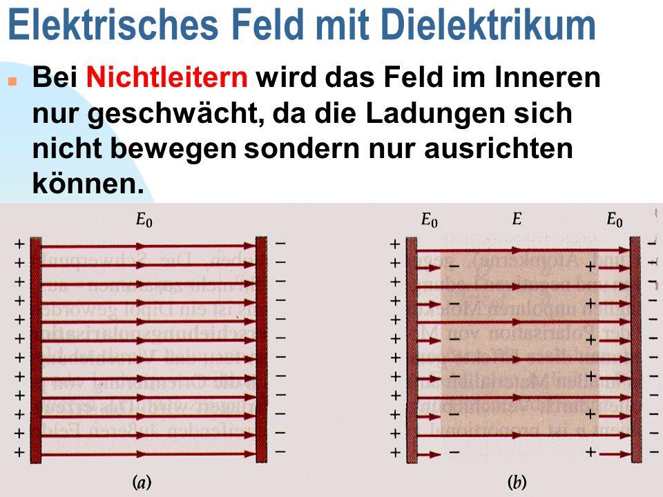 Zurück zur ersten Seite 19 Elektrisches Feld mit Dielektrikum Bei Nichtleitern wird das Feld im Inneren nur geschwächt, da die Ladungen sich nicht bew