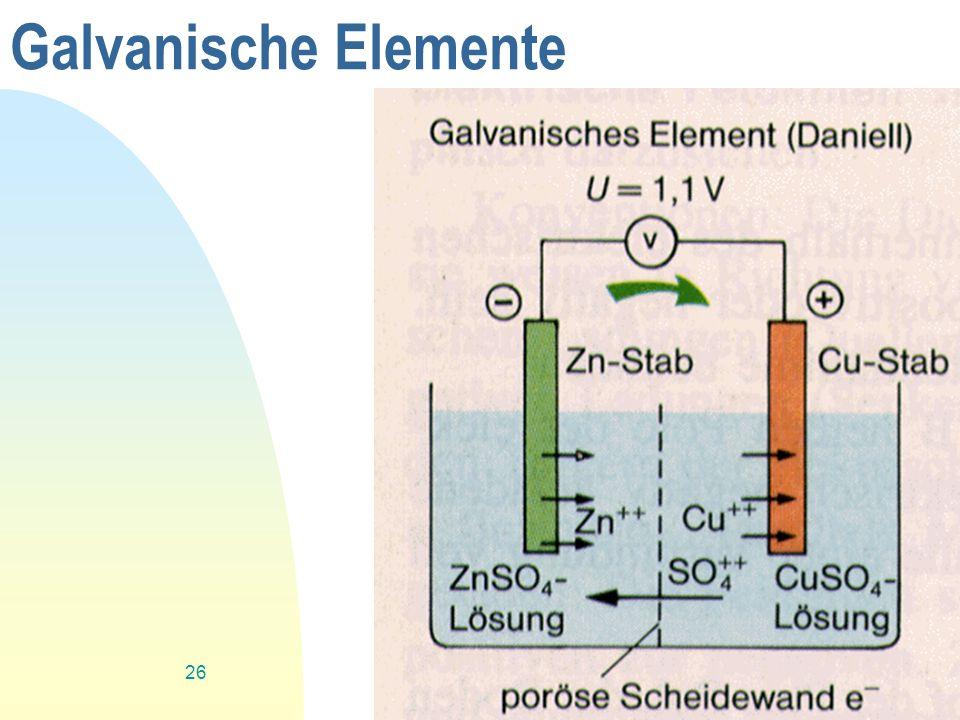 Zurück zur ersten Seite 26 Galvanische Elemente