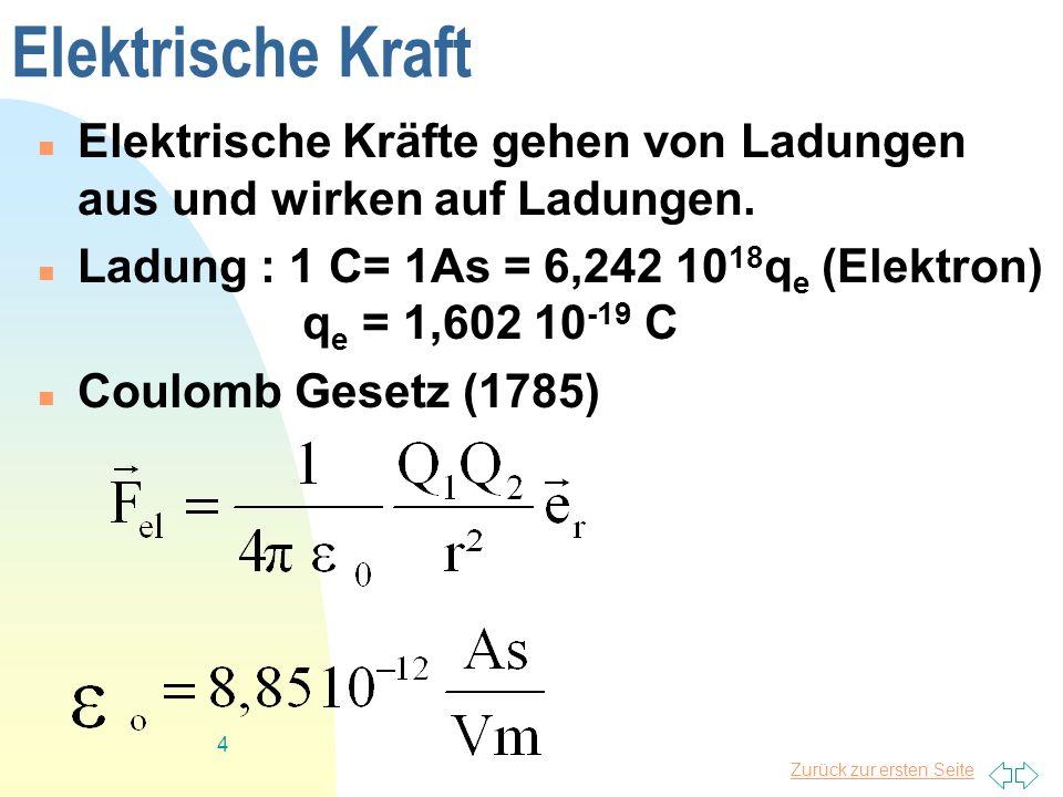 Zurück zur ersten Seite 5 Einheiten der Elektrizität Strom : I : Ampere : A (Grundgröße) Ladung : Q: Coulomb : C = As Spannung : U :Volt : V = Nm/As Leistung : P :Watt : W = VA Energie : W : : Ws = VC = J