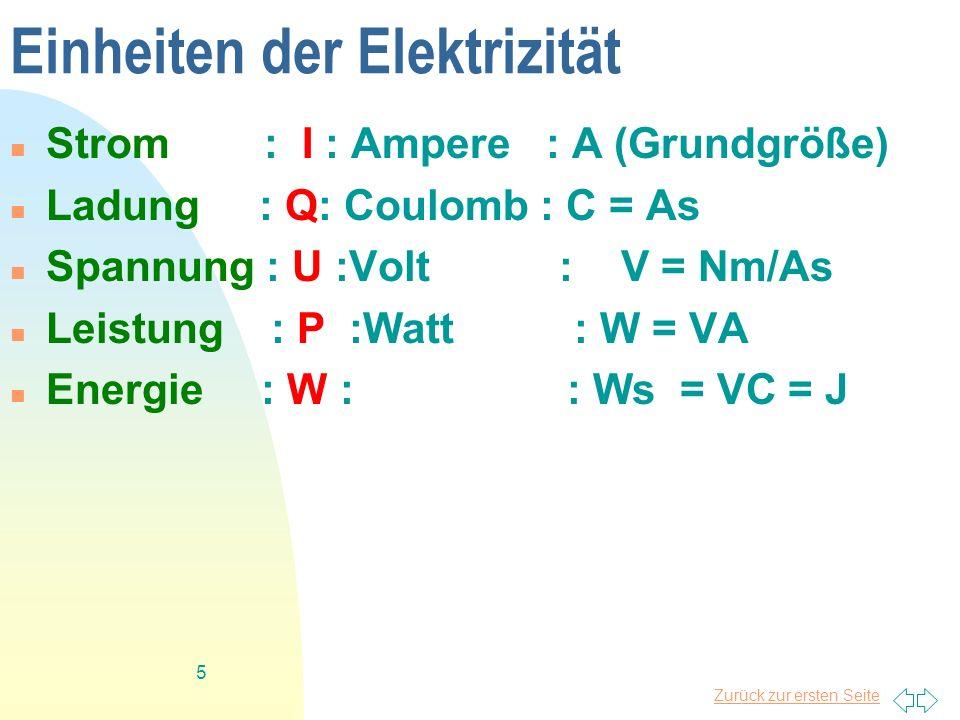 Zurück zur ersten Seite 5 Einheiten der Elektrizität Strom : I : Ampere : A (Grundgröße) Ladung : Q: Coulomb : C = As Spannung : U :Volt : V = Nm/As L
