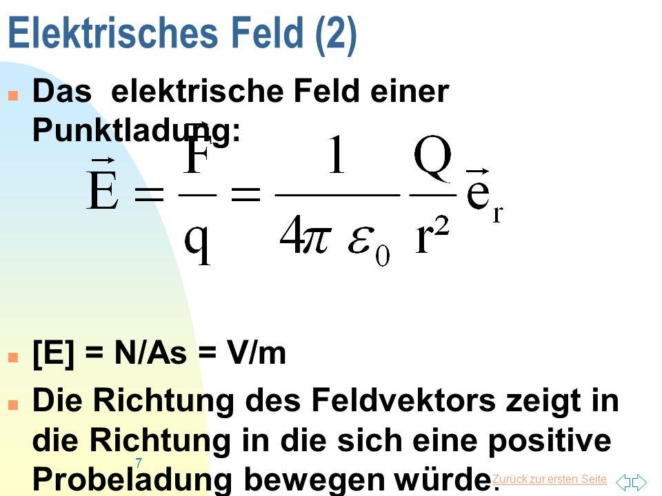 Zurück zur ersten Seite 7 Elektrisches Feld (2) Das elektrische Feld einer Punktladung: [E] = N/As = V/m Die Richtung des Feldvektors zeigt in die Ric