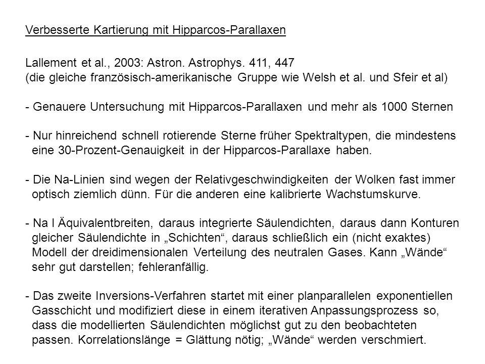 Verbesserte Kartierung mit Hipparcos-Parallaxen Lallement et al., 2003: Astron. Astrophys. 411, 447 (die gleiche französisch-amerikanische Gruppe wie