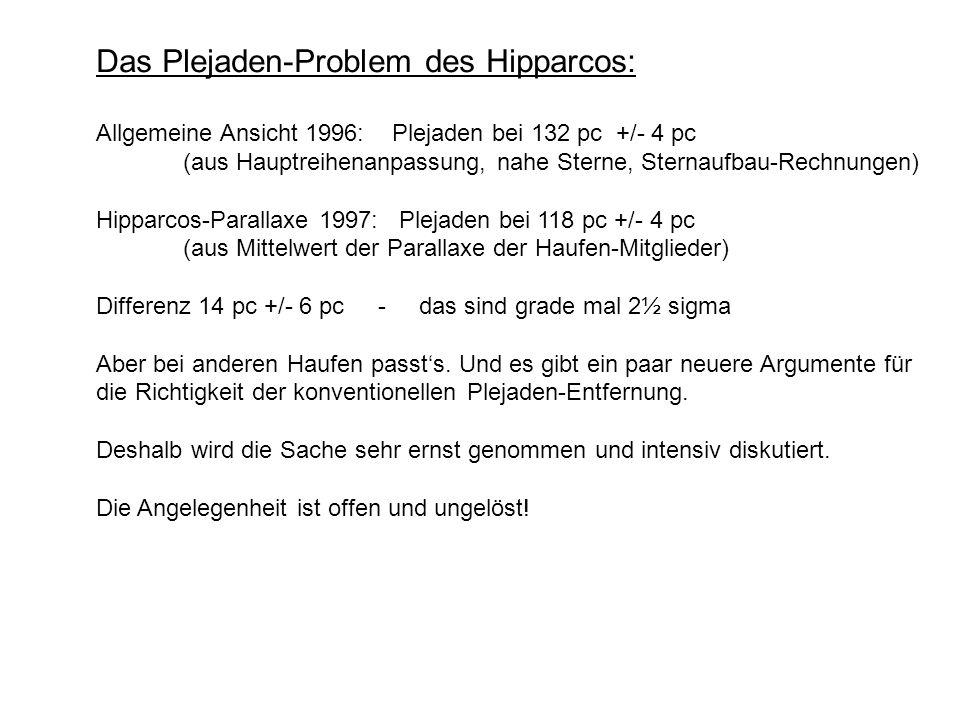 Das Plejaden-Problem des Hipparcos: Allgemeine Ansicht 1996: Plejaden bei 132 pc +/- 4 pc (aus Hauptreihenanpassung, nahe Sterne, Sternaufbau-Rechnung