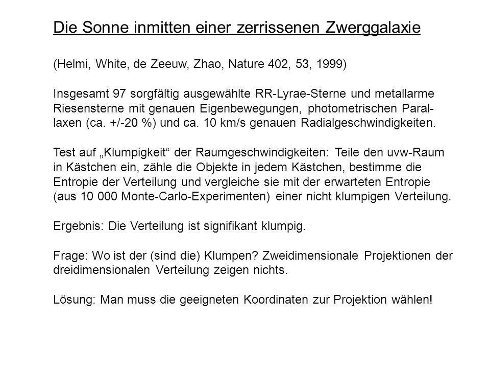 Die Sonne inmitten einer zerrissenen Zwerggalaxie (Helmi, White, de Zeeuw, Zhao, Nature 402, 53, 1999) Insgesamt 97 sorgfältig ausgewählte RR-Lyrae-St
