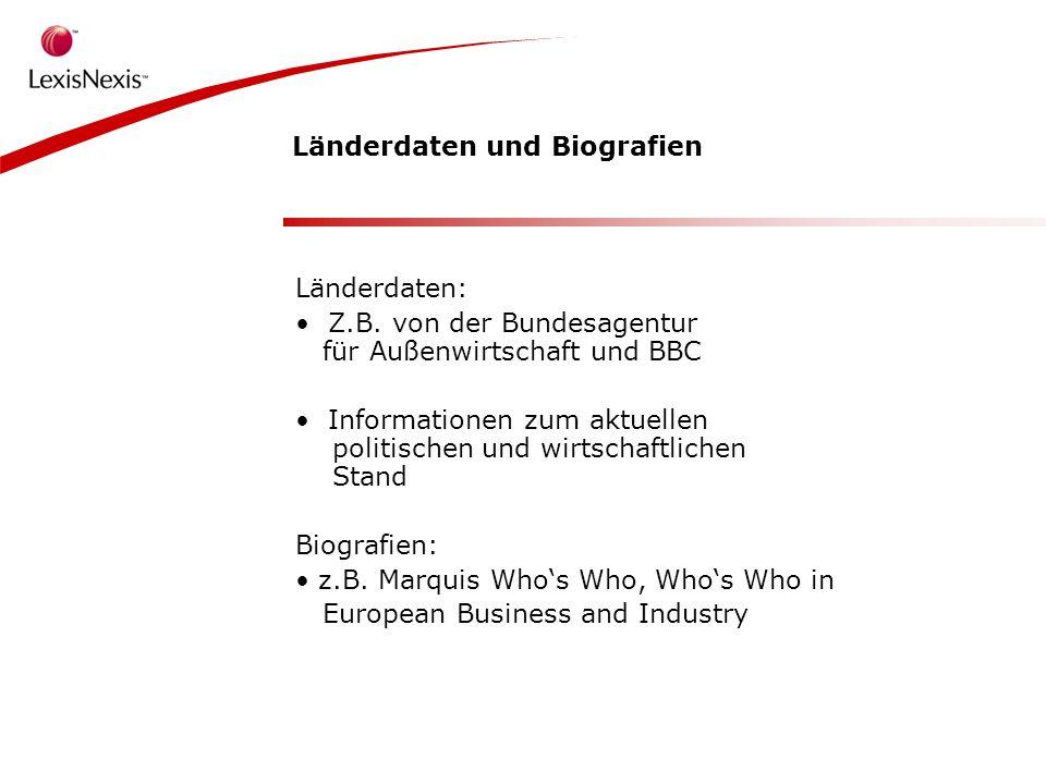 Länderdaten und Biografien Länderdaten: Z.B.