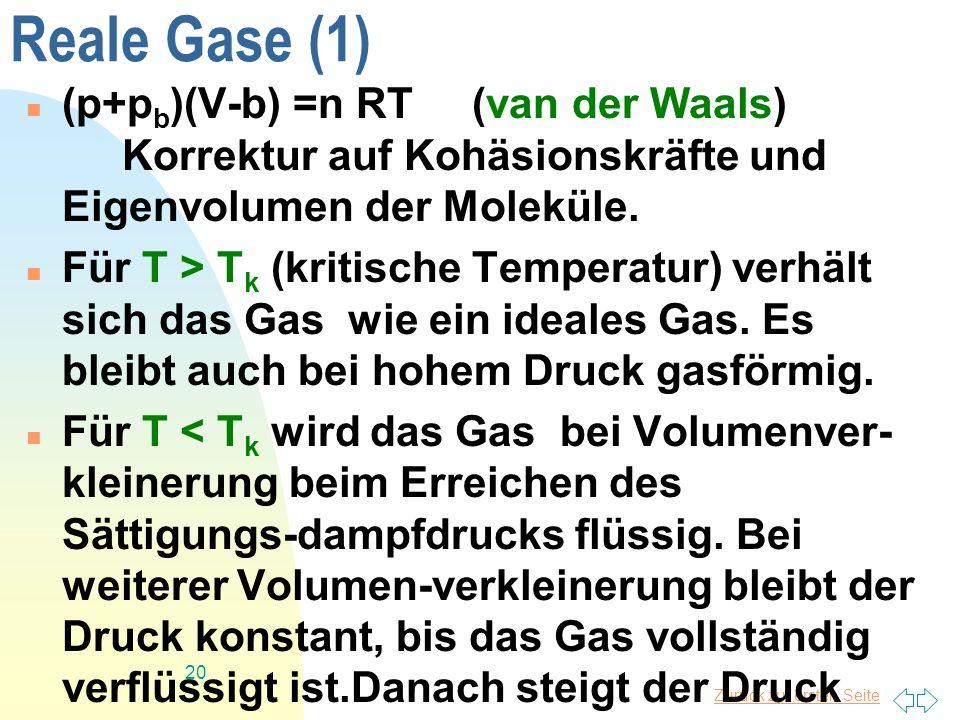 Zurück zur ersten Seite 20 Reale Gase (1) (p+p b )(V-b) =n RT (van der Waals) Korrektur auf Kohäsionskräfte und Eigenvolumen der Moleküle. Für T > T k