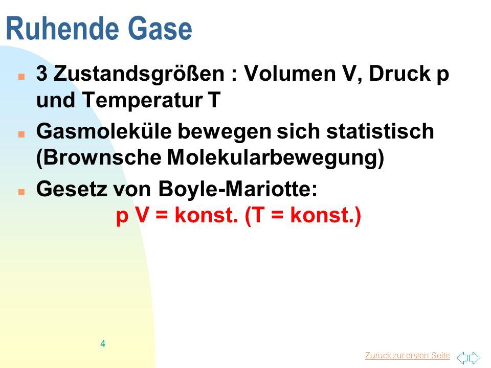 Zurück zur ersten Seite 4 Ruhende Gase 3 Zustandsgrößen : Volumen V, Druck p und Temperatur T Gasmoleküle bewegen sich statistisch (Brownsche Molekula