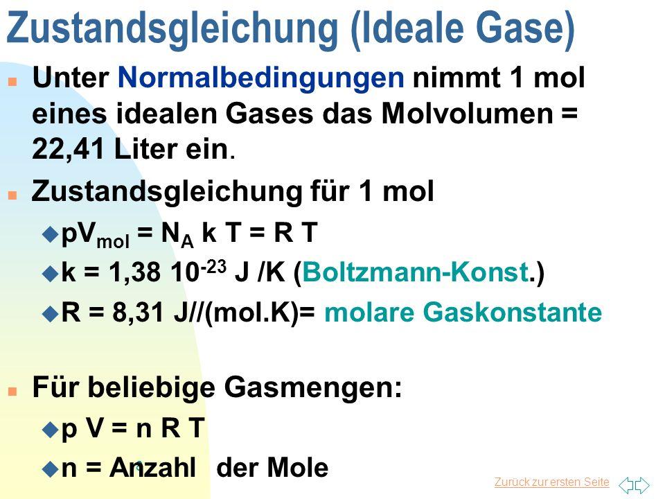 Zurück zur ersten Seite 8 Zustandsgleichung (Ideale Gase) Unter Normalbedingungen nimmt 1 mol eines idealen Gases das Molvolumen = 22,41 Liter ein. Zu