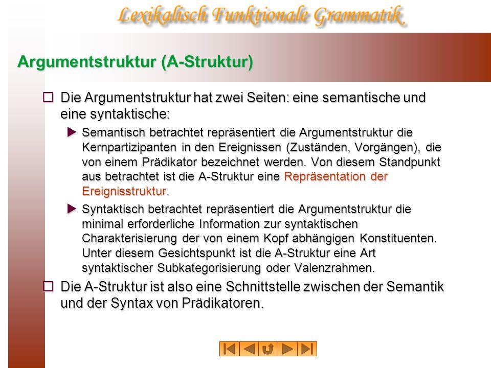 Argumentstruktur (A-Struktur) Die Argumentstruktur hat zwei Seiten: eine semantische und eine syntaktische: Die Argumentstruktur hat zwei Seiten: eine
