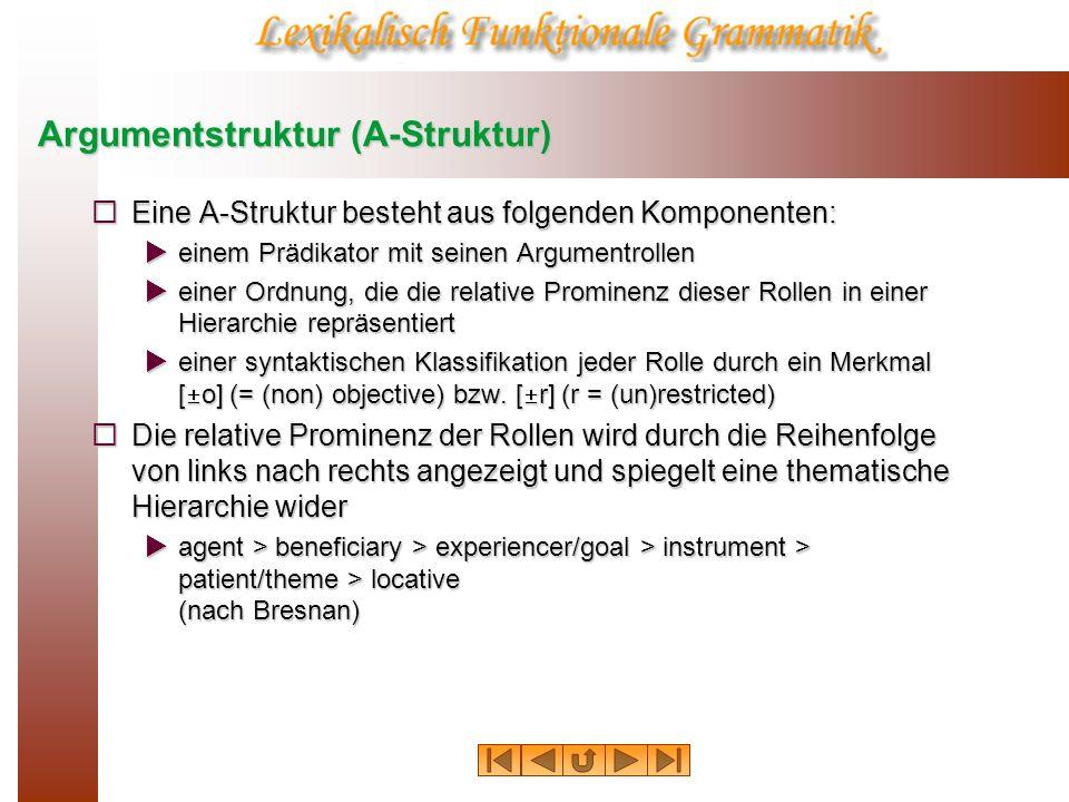 Argumentstruktur (A-Struktur) Eine A-Struktur besteht aus folgenden Komponenten: Eine A-Struktur besteht aus folgenden Komponenten: einem Prädikator m