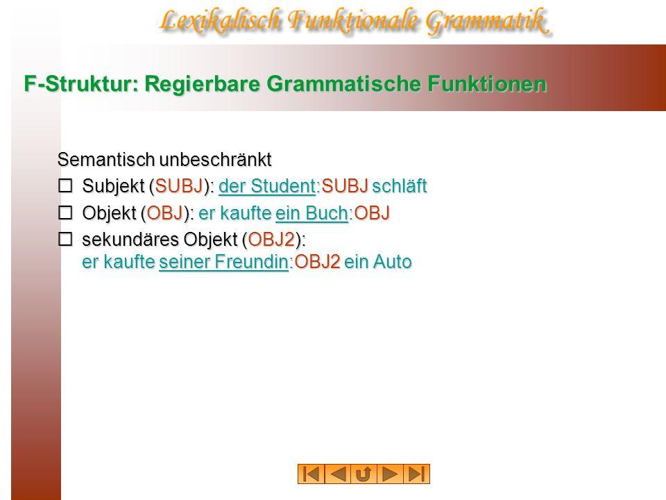 F-Struktur: Regierbare Grammatische Funktionen Semantisch unbeschränkt Subjekt (SUBJ): der Student:SUBJ schläft Subjekt (SUBJ): der Student:SUBJ schlä