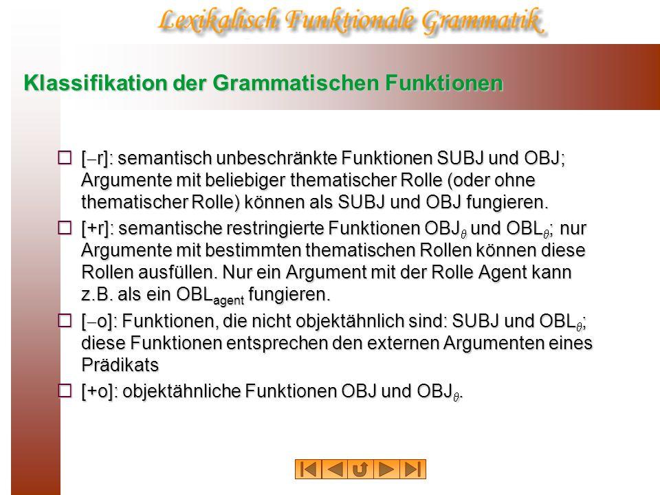 Klassifikation der Grammatischen Funktionen [ r]: semantisch unbeschränkte Funktionen SUBJ und OBJ; Argumente mit beliebiger thematischer Rolle (oder