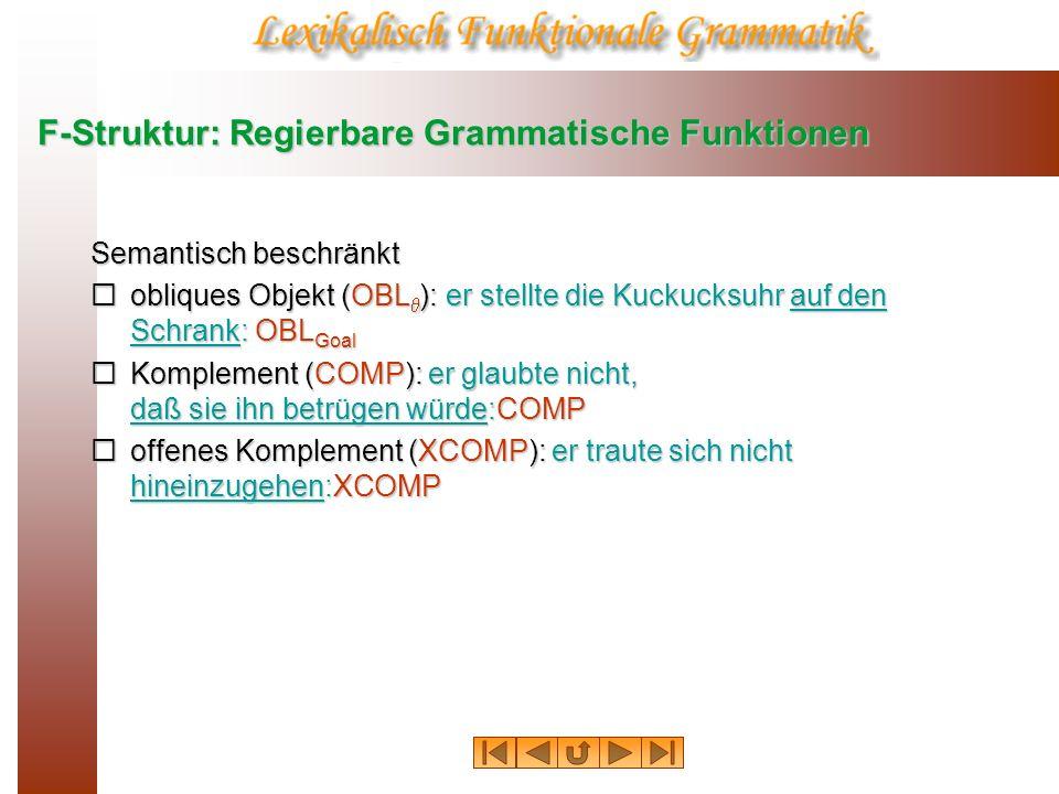 F-Struktur: Regierbare Grammatische Funktionen Semantisch beschränkt obliques Objekt (OBL ): er stellte die Kuckucksuhr auf den Schrank: OBL Goal obli