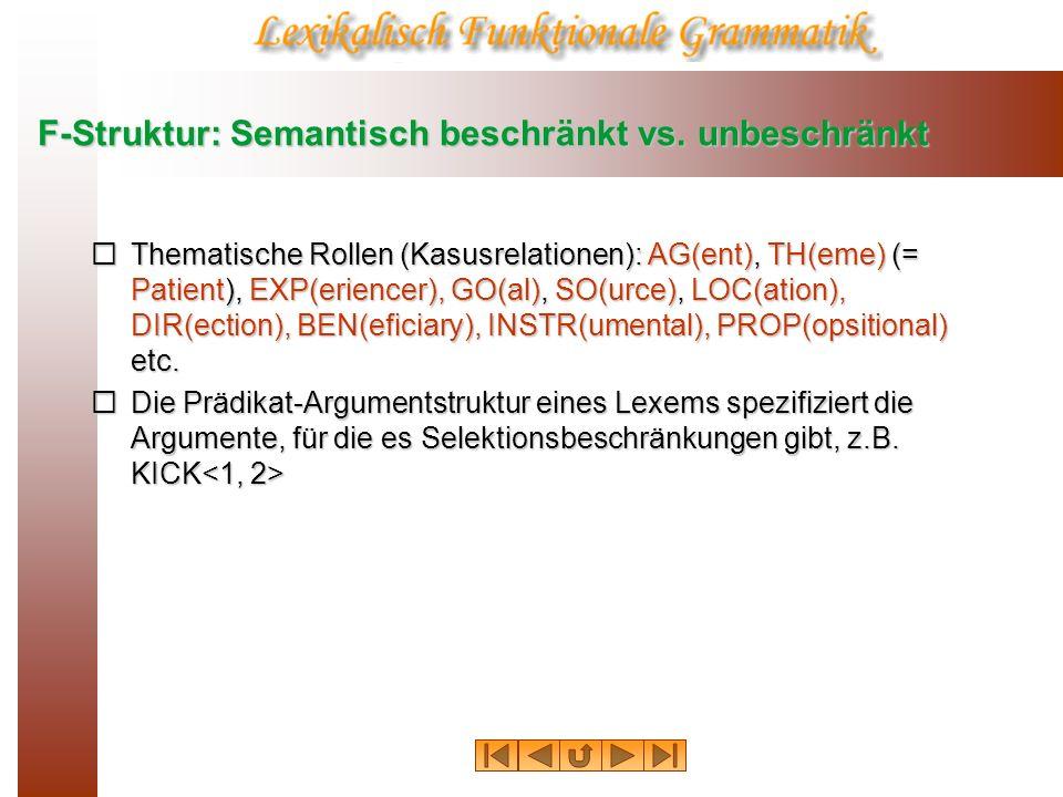 F-Struktur: Semantisch beschränkt vs. unbeschränkt Thematische Rollen (Kasusrelationen): AG(ent), TH(eme) (= Patient), EXP(eriencer), GO(al), SO(urce)