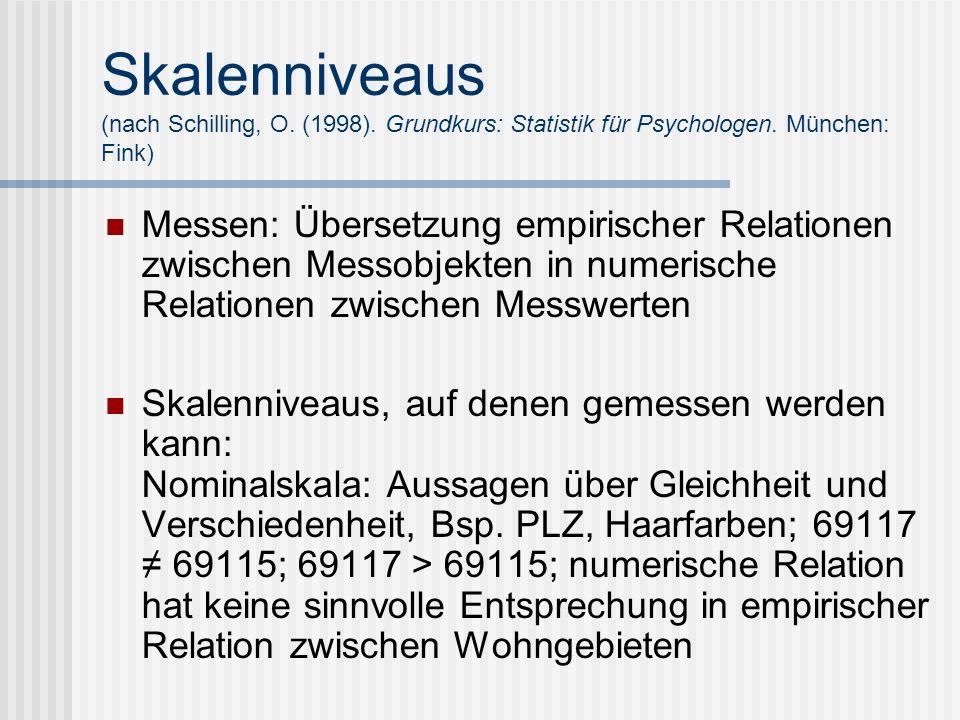 Skalenniveaus (nach Schilling, O. (1998). Grundkurs: Statistik für Psychologen. München: Fink) Messen: Übersetzung empirischer Relationen zwischen Mes