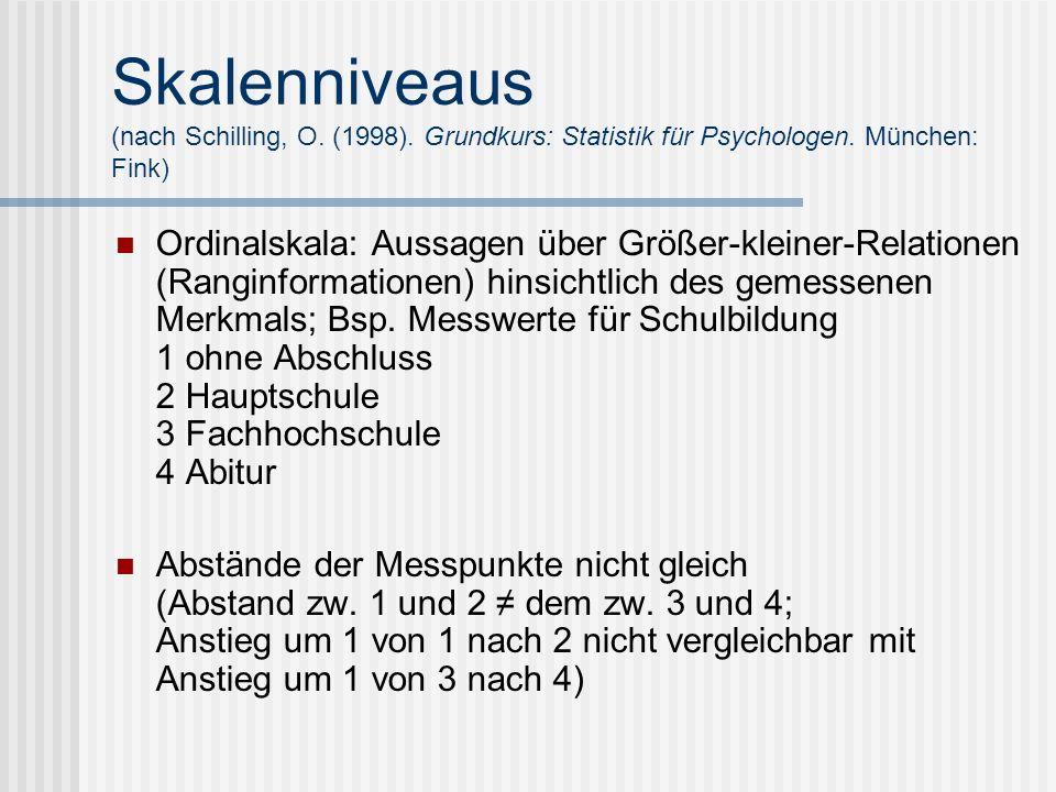 Skalenniveaus (nach Schilling, O. (1998). Grundkurs: Statistik für Psychologen. München: Fink) Ordinalskala: Aussagen über Größer-kleiner-Relationen (