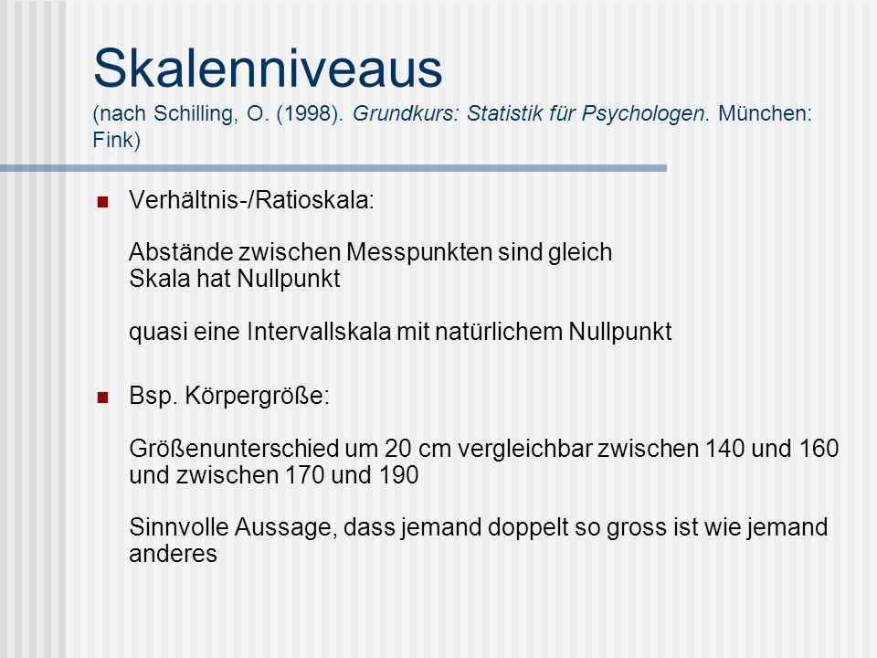 Skalenniveaus (nach Schilling, O. (1998). Grundkurs: Statistik für Psychologen. München: Fink) Verhältnis-/Ratioskala: Abstände zwischen Messpunkten s