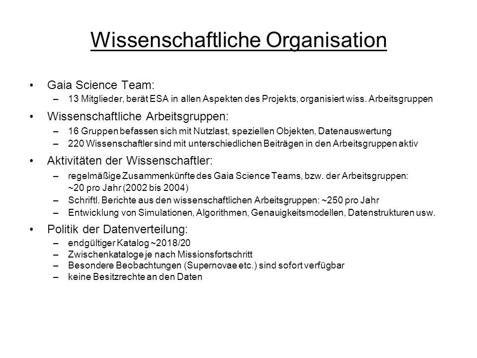 Wissenschaftliche Organisation Gaia Science Team: –13 Mitglieder, berät ESA in allen Aspekten des Projekts, organisiert wiss. Arbeitsgruppen Wissensch