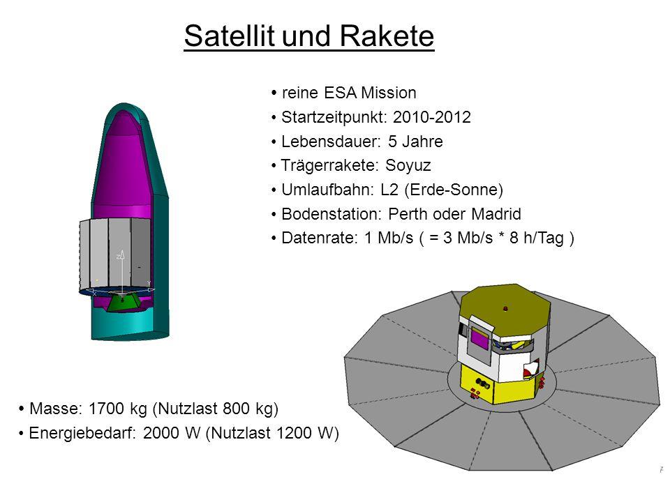 Satellit und Rakete reine ESA Mission Startzeitpunkt: 2010-2012 Lebensdauer: 5 Jahre Trägerrakete: Soyuz Umlaufbahn: L2 (Erde-Sonne) Bodenstation: Per