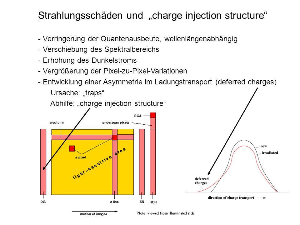 Strahlungsschäden und charge injection structure - Verringerung der Quantenausbeute, wellenlängenabhängig - Verschiebung des Spektralbereichs - Erhöhu