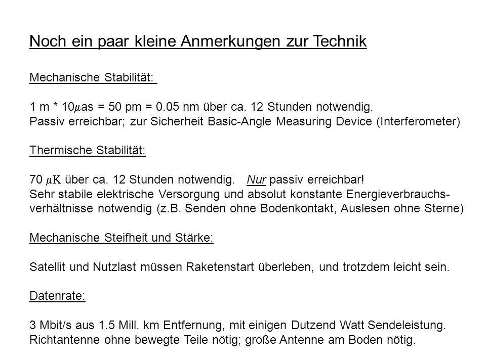 Noch ein paar kleine Anmerkungen zur Technik Mechanische Stabilität: 1 m * 10 as = 50 pm = 0.05 nm über ca. 12 Stunden notwendig. Passiv erreichbar; z