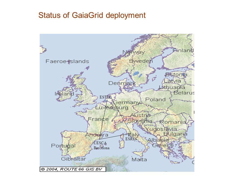 Status of GaiaGrid deployment CESCA Barcelona ESRIN ESTEC