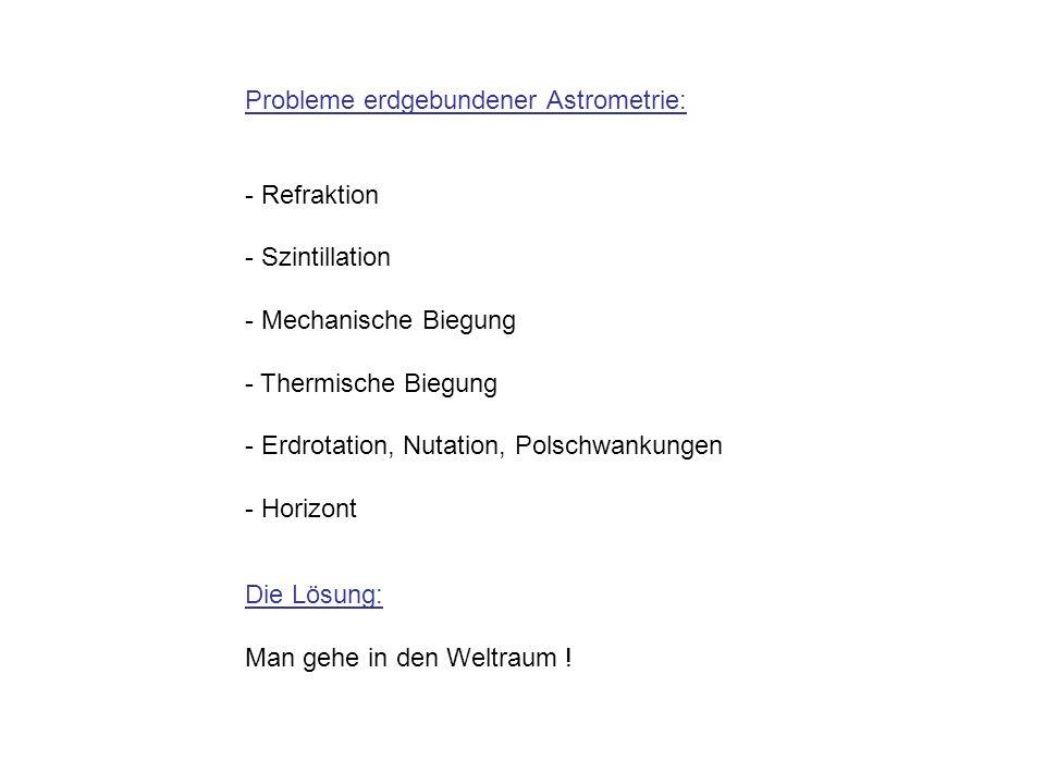 Probleme erdgebundener Astrometrie: - Refraktion - Szintillation - Mechanische Biegung - Thermische Biegung - Erdrotation, Nutation, Polschwankungen -