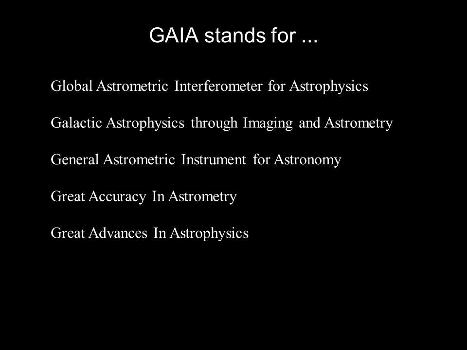GAIA stands for... Global Astrometric Interferometer for Astrophysics Galactic Astrophysics through Imaging and Astrometry General Astrometric Instrum