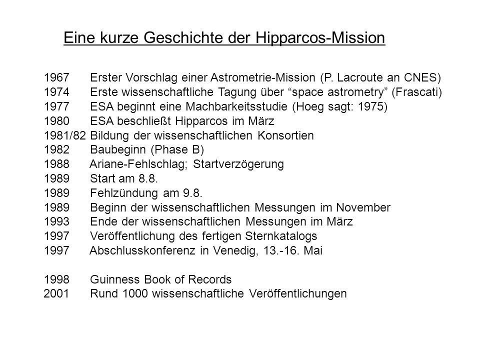 Eine kurze Geschichte der Hipparcos-Mission 1967 Erster Vorschlag einer Astrometrie-Mission (P. Lacroute an CNES) 1974 Erste wissenschaftliche Tagung