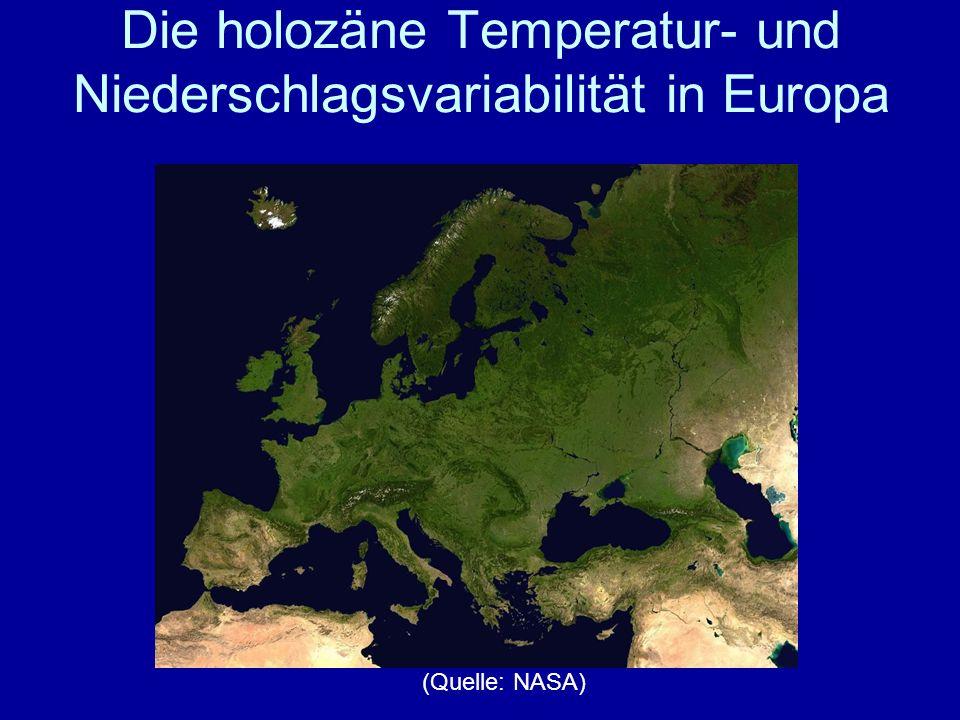Die holozäne Temperatur- und Niederschlagsvariabilität in Europa (Quelle: NASA)