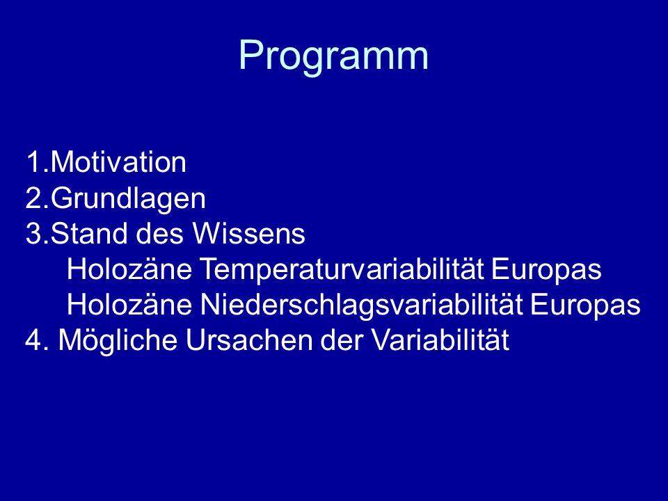 Programm 1.Motivation 2.Grundlagen 3.Stand des Wissens Holozäne Temperaturvariabilität Europas Holozäne Niederschlagsvariabilität Europas 4. Mögliche